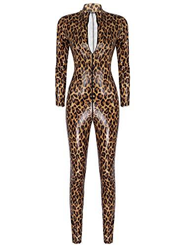 CHICTRY Wetlook Damen Ganzkörperanzug Leopard Body Dessous Zipper-Body Bodycon Bodysuit Stehkragen Catsuit Fasching Cosplay Clubwear Braun XL