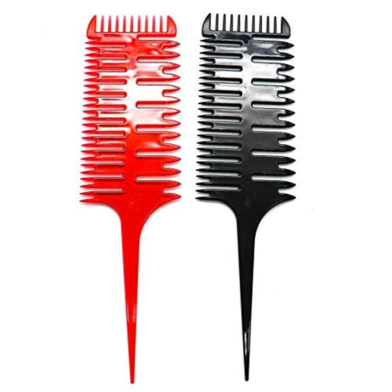 キャンプ高原部屋を掃除するHUELE 2 Pcs Professional 3-Way Hair Combs Weaving & Sectioning Foiling Comb for Hair Black+Red [並行輸入品]
