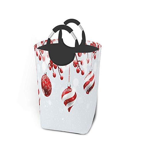 ALLMILL Bolsa de lavandería,Impresión de Iconos Tradicionales de Navidad,Cesta de lavandería Plegable Grande,Cesto de Ropa Plegable,Papelera de Lavado Plegable