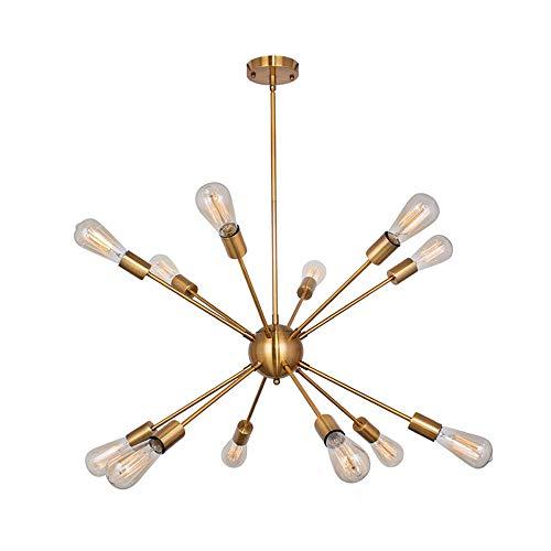 WFZRXFC Lámpara de araña Sputnik de forma geométrica larga dorada Luz de techo de montaje semi empotrado interior de estilo industrial nórdico Luminaria de techo de montaje semi empotrado con base E27