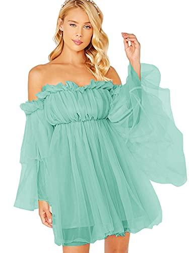 Romwe Women's Romantic Off Shoulder Flounce Long Sleeve Wedding Ruffle Mesh Party Mini Dress Mint Green M