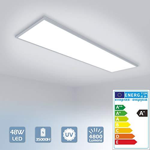[Pro] LED Panel 120x30cm 48W Deckenleuchte Kaltweiß 4800 lumen, 6000K, dünn Ultraslim, Silberes Gehäuse, Wandleuchte für Wohnraum, Bad, Flur, Wand, Decke, Küchen [Energieklasse A+]