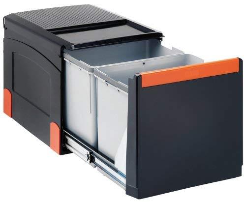 FRANKE Sorter Cube 41 Abfallsorter Abfalleimer Mülleimer Abfallsammler, schwarz, 34,1 x 47,5 x 33,5 cm