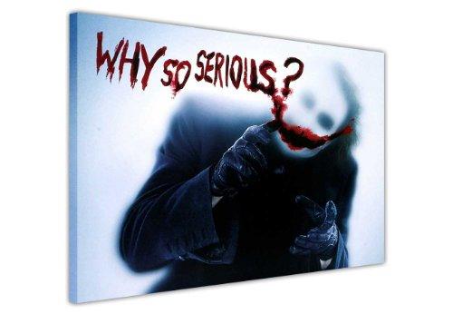 "Joker aus Batman Dark Night Zitat ""Why So Serious"" Leinwandbild Kunstdruck Hollywood Legends Bilder DC Comics Print Pop Art, canvas holz, 7- 30"