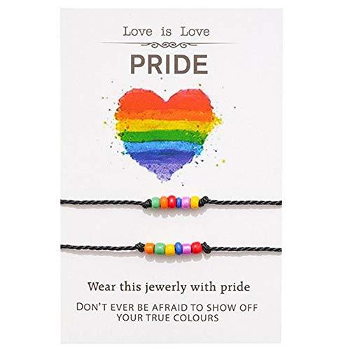 2 uds, Pulseras de orgullo, pulseras de cuentas de arcoíris, pulsera a juego de distancia de amor, joyería LGBTQ, regalo para pareja, amigos, mujeres, hombres, Unisex