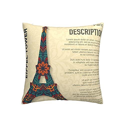 Funda de cojín cuadrada decorativa de la torre Eiffel para sofá, hogar, dormitorio, interior y exterior, linda funda de almohada de 45,7 x 45,7 cm