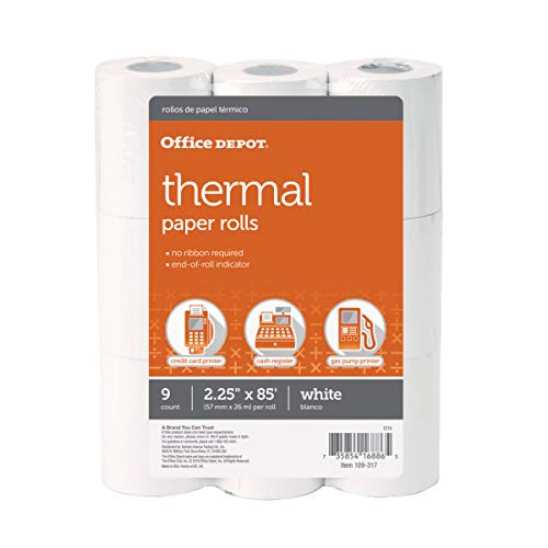 Office Depot Thermal Paper Rolls, 2 1/4in. x 85ft, White, Pack of 9, 109317