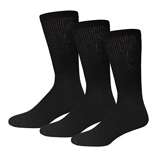 3 Pairs of Cotton Diabetic Neuropathy Crew Socks (13-16, Fits Men's Shoe Size 12-14.5, Black)