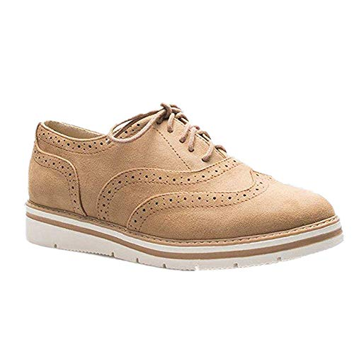 Zapatos Planos con Cordones Mujer Brogue Zapato Talón Plano Gamuza Colores Manera Tallas Grandes Botas Negro Rosa Gris Azul Marrón 35-43 Marrón 37