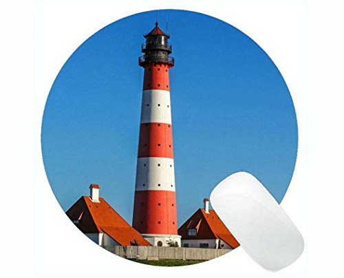 Yanteng Round Mouse pad,Lighthouse Sea Cliffs Water Away Road Mouse Pads