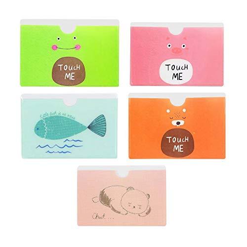 Nubstoer Pack de 20 Protectores de PVC Tarjeta de Crédito Funda Soporte Case Cute Animal Bus Metro Tarjeta Mixed Color