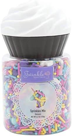 Twinkle Baker Décor Unicorn Sprinkles in Cupcake Shaped Reusable Container, 125 g, TW18