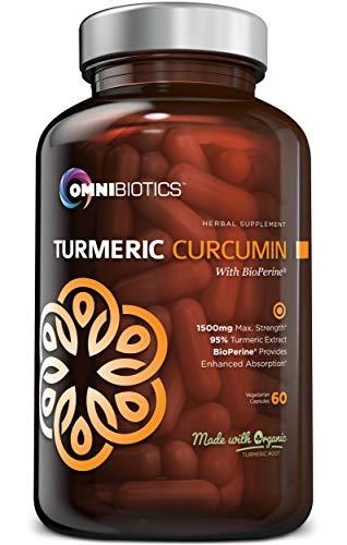 Organic Turmeric Curcumin Supplement 1500Mg With Bioperine | 95% Standardized Curcuminoid Extract &Amp; Organic Root Powder With Piperine Black Pepper Fruit (10Mg), 120 Vegetarian Capsules