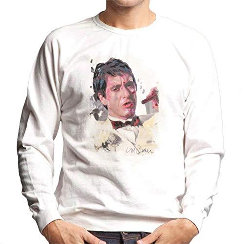 VINTRO Al Pacino Scarface Tuxedo Männer Pullover Original Porträt von Sidney Maurer (Arktisches Weiß,L)