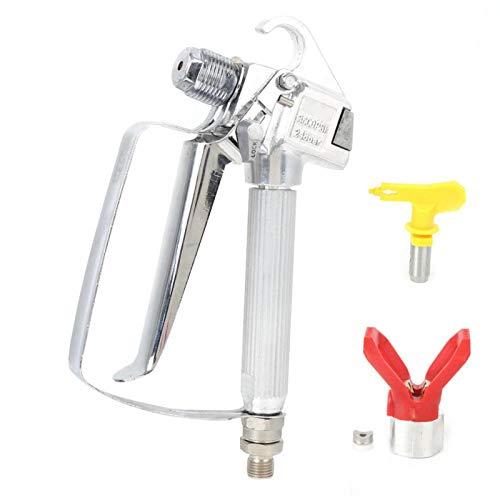 SALUTUYA Boquilla de aerógrafo con Boquilla Pinceles de Aire para Pintar para pulverizadores Wagner Mango ergonómico para(Spray Gun + Yellow Nozzle Seat + Red Nozzle)