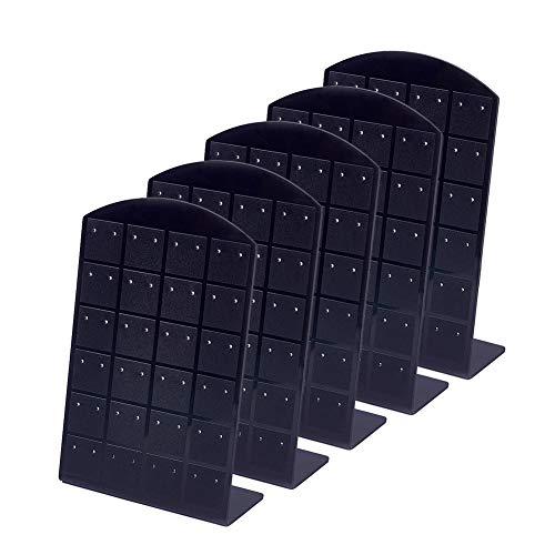 PandaHall 5 Pezzi Espositore per Orecchini in Acrilico 48 Fori Orecchini a Perno Porta Gioielli Vetrina Organizzatore di stoccaggio Nero