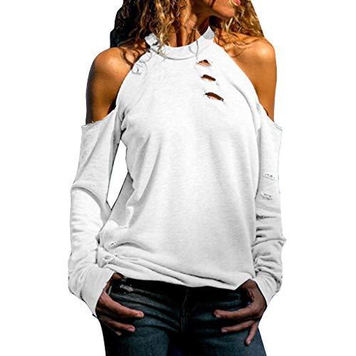 iHENGH Damen Top Bluse Lässig Mode T-Shirt Frühling Sommer Frauen Bequem Blusen Lange Hülse Weg vom Schulter Normallack beiläufiges Hemd Einfache Oberteile(Weiß, M)