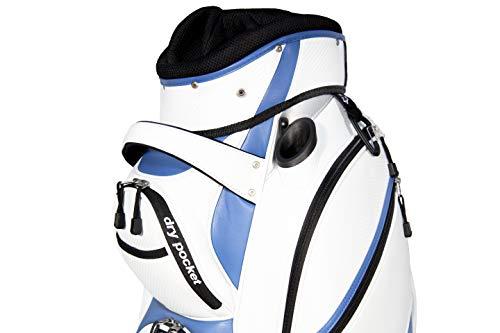 Hippo Golftasche, aus wasserdichtem Material und Dry Pocket–weiß/blau