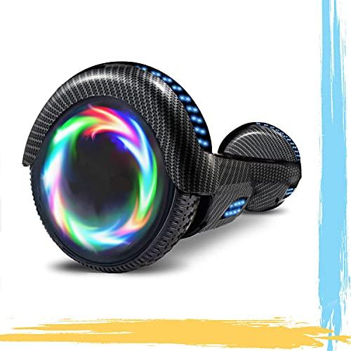HST 6.5'' Hoverboard Patinetes de Acrobacias Patinete Eléctrico Bluetooth Monopatín Scooter Autobalanceado, Ruedas de Skate con luz LED, Motor Bluetooth de 700W… (Negro)
