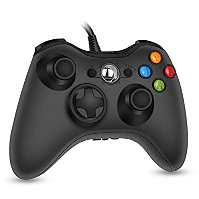 RegeMoudal 360 PC Game Wired Controller for Microsoft Xbox 360 and Windows PC (Windows 10/8.1/8/7) with Dual Vibration and Ergonomic Wired Game Controller (Black 1) by RegeMoudal