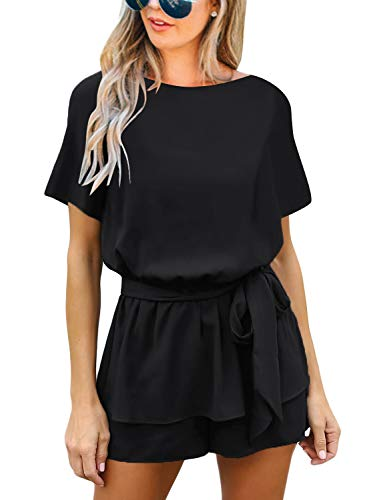 Roskiki Romper Women's Short-Sleeved Overlay Keyhole Jumpsuit, Schwarz, L
