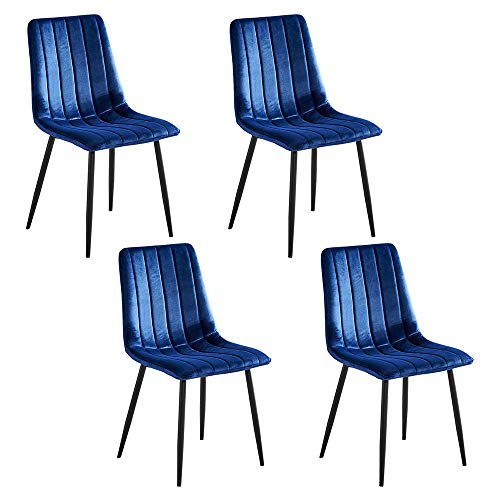 Contemporary Dining Chairs Set of 4 Blue Velvet Fabric Upholstered with Black Metal Legs, Occasional Kitchen Counter Armchairs Living Room Side Chairs with Backrest Office Reception Party Chairs