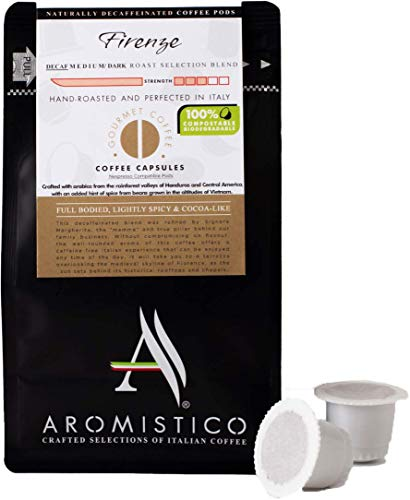 AROMISTICO | Premium Italian Coffee Capsules 100% Compostable | Firenze Blend Swiss Water Decaf | Compatible with Nespresso Machines | Full Bodied, Lightly Spicy & Cocoa-Like