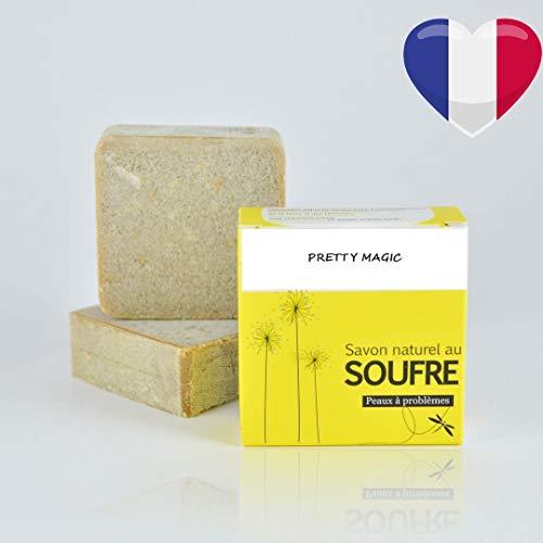 Savon Naturel au Soufre (vegan) Fait à la main par saponification à froid Fabriqué en Provence pour problèmes de peaux acné eczéma psoriasis