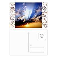 ブルー・オレンジ色の光の空の雲 公式ポストカードセットサンクスカード郵送側20個