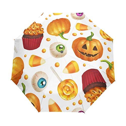 Rode paraplu voor Halloween, oogstfeest, pompoenen, suiker, snoepjes, ogen, herfst, auto, opener, uv-bescherming, opvouwbaar, automatische paraplu