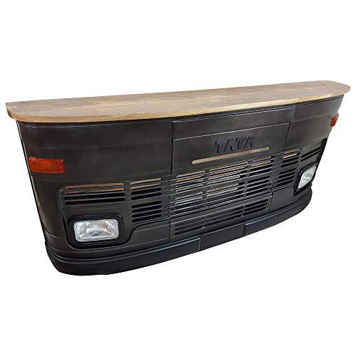 Theke Tata groß in schwarz LKW Front - Tresen mit Beleuchtung - Verkaufstheke im Vintage Look für Rezeption oder Empfang - Empfangstresen aus Metall und Holz - Empfangstisch im LKW-Design Bartisch