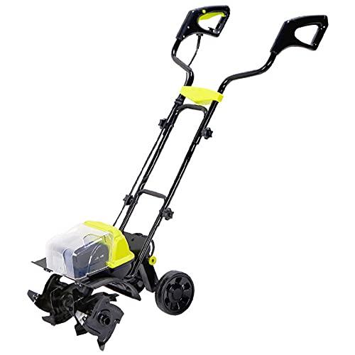 QILIN Elektrische Gartenfräse/Grubber, 40V elektrische Gartenfräse mit Akku, bürstenloser Motor, höhenverstellbar, Gartenfräse mit Handschub
