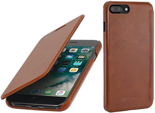 StilGut Leder-Hülle kompatibel mit iPhone 8 Plus/iPhone 7 Plus Book Type, Cognac