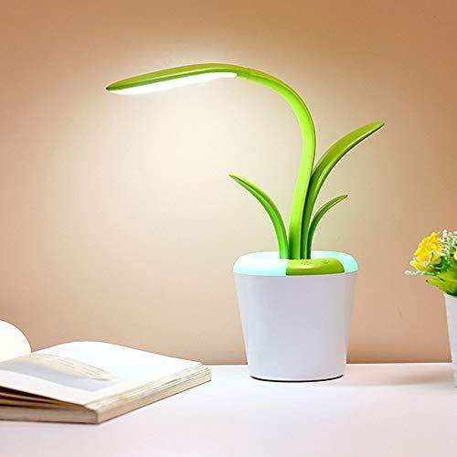 lxc Carga USB Lámpara de Mesa Orquídea Aprendizaje Lectura Luces de la Mesa Oscurecimiento Coloreado Sin protección estroboscópica para los Ojos (Color : Green)
