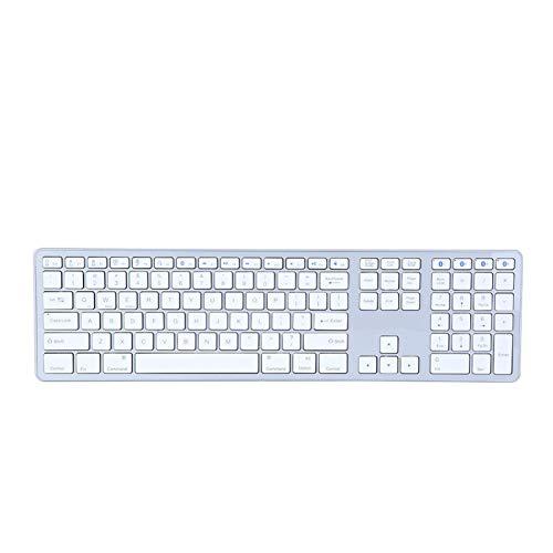 Teclado inalámbrico Bluetooth de 104 teclas, teclado inalámbrico universal de emparejamiento múltiple para PC / computadora portátil / tableta, velocidad de respuesta de 12 ms, emparejamiento multipun