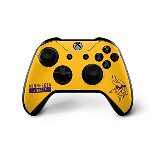 Skinit Decal Gaming Skin Compatible with Xbox One X Controller - Officially Licensed NFL Minnesota Vikings Yellow Performance Series Design
