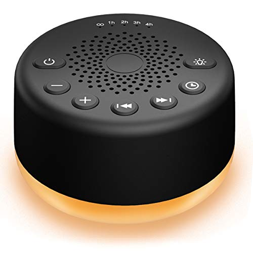 Easysleep Sound White Noise Machine with 25 Soothing Sounds with Memory Function 32 Levels of Volume and 5 Sleep Timer Powered by AC or USB for Sleeping Relaxation (Black, with Light)