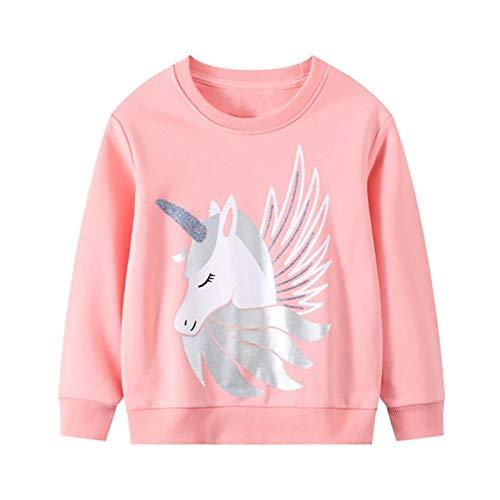 JinBei Niña Sudadera Camiseta Ropa Manga Larga Invierno Cuello Redondo Jersey Rosado Caballo Impresión de Unicornio Pull-Over con Algodón Casual Top 2 3 4 5 6 7 años