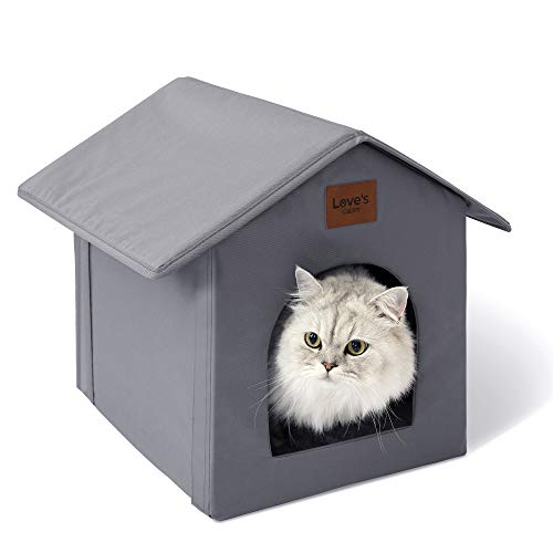 Love's cabin Outdoor Cat House Weatherproof for Winter, Collapsible Warm Cat Houses for...