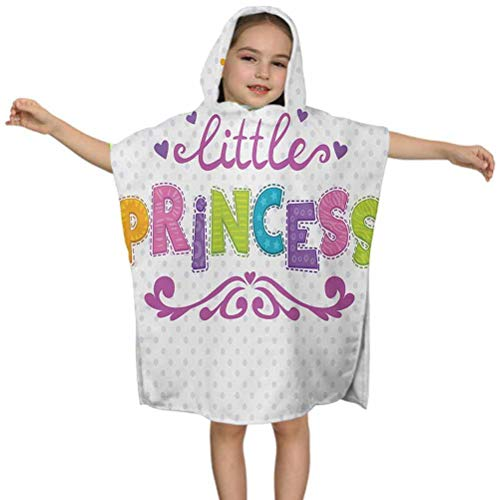Ahuimin - Toalla de playa para niños, diseño de princesa, con texto en inglés 'Little Princess', diseño de lunares, 60 x 60 cm, microfibra para niños y niñas de 3 a 7 años