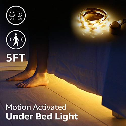 TORCHSTAR LED Motion Activated Bed Light Kit, 5ft Flexible Strip Lights, Waterproof, Power Supply Included, Baby Crib, Under Cabinet, Under Bed, Dark Corner, Accent Lighting, Warm Glow