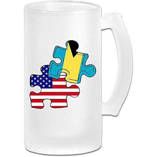 Bahama's Amerikaanse vlag puzzel stuk Frosted glas Stein bier mok, pub mok, drank mok, geschenk voor bier Drinker, 500Ml (16.9Oz)