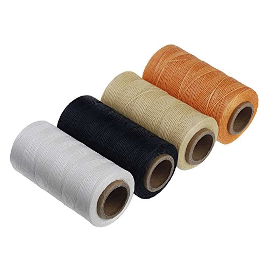 Wax Thread Leather Hand Stitching Leather Sewing Waxed Thread Leather Sewing Cord for leather craft 284yrdm 150D (1mm) (four colors pack)
