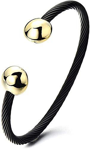 YOUZYHG co.,ltd Brazalete Magnético Ajustable con Cable Trenzado de Acero Inoxidable para Mujer Dos Tonos Negro Oro Ajustable