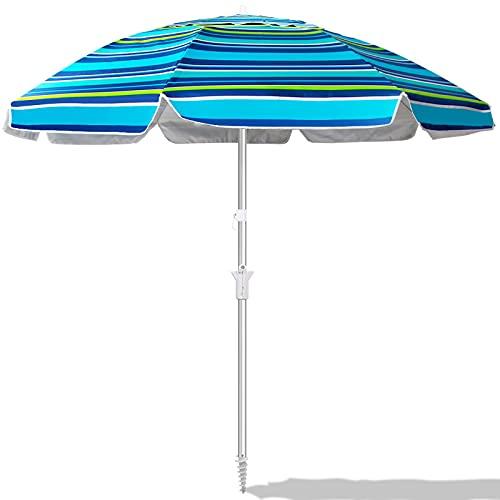 EONSIX Beach Umbrella, 6.5ft Patio Umbrella with Sand Anchor & Tilt Mechanism, Portable Umbrella Heavy Duty Wind UV Protection for Sand, Beach, Yard, Garden, Outdoor
