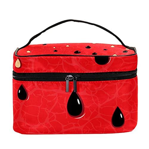 Bolsa de maquillaje de viaje con patrón de semillas de sandía, bolsa de maquillaje grande, organizador de maquillaje, con cremallera, para mujeres y niñas
