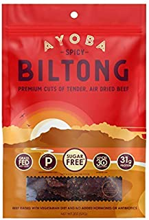 Ayoba Spicy Biltong - Grass Fed, Keto and Paleo Certified Air-Dried Beef Snack - Better Than Jerky Tender Steak Cuts - Whole 30 Approved, No Sugar, Gluten Free, No Nitrates (2 Ounce)