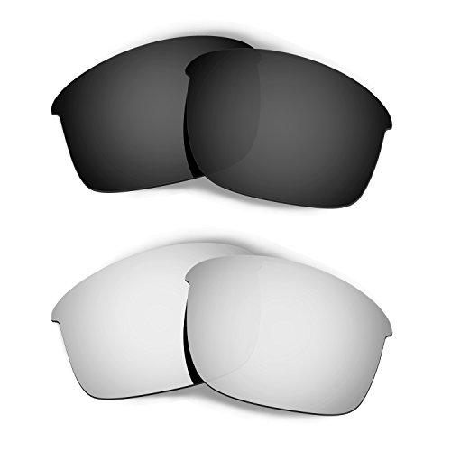 HKUCO Plus Mens Replacement Lenses For Oakley Bottle Rocket Black/Titanium Sunglasses