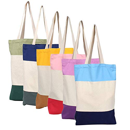 M-Aimee Tri-Color Canvas Blank Shopping Tote Bags, 13'W x 16'H x 3.2'D, Pack of 6
