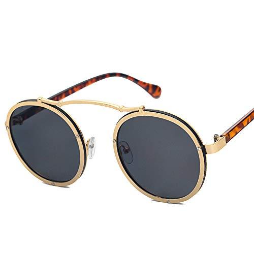 JECIKA Gafas de sol vintage polarizadas con marco de metal redondo para hombre y mujer, estilo vintage, punk, montura redonda de metal, protección UV400